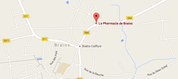 carte-acces-Pharmacie de Brains